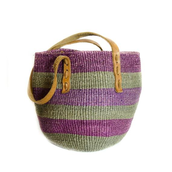 Vintage Sisal Bag Green and Purple Stripe Handbag / Woven Straw Market Bag with Brown Leather Trim