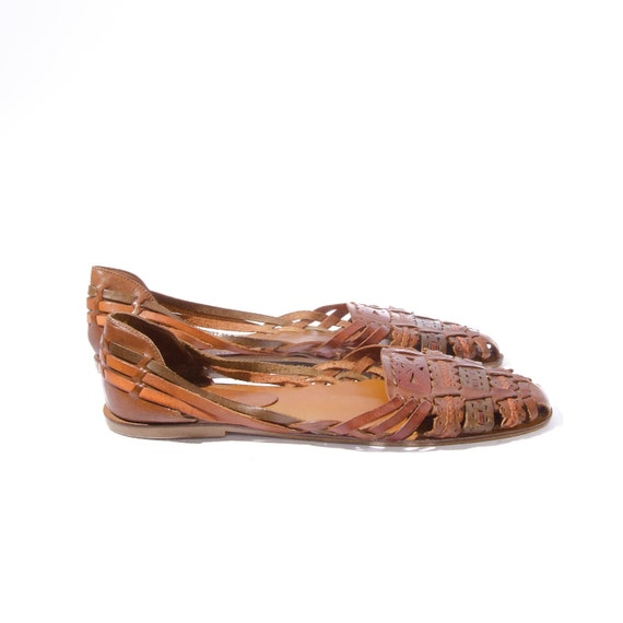 92a1d05b7bf4 Women s Vintage Huarache Style sandals Earth Tone Woven Leather size 8