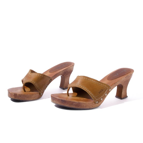 Vintage MIA High Heel Platform Sandals with Brown Leather Tops Women's size 8