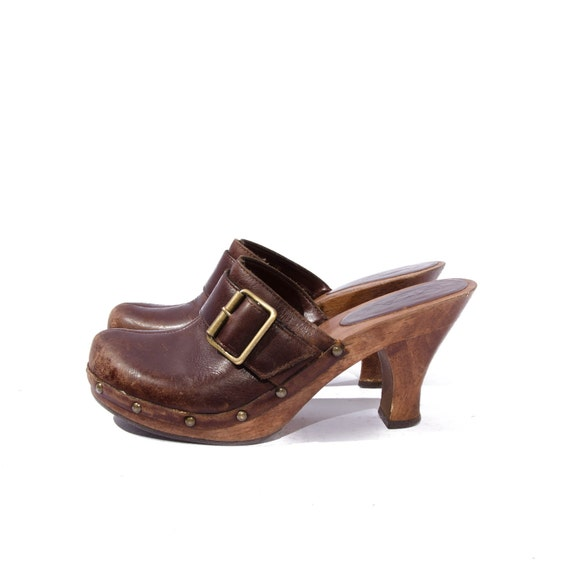 Women's Vintage Clogs Brown Platform Mule Brown Leather with Buckles by MIA size 6