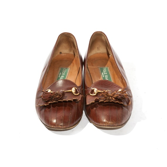 Preppy Cole Haan Tassel and Horse bit Loafers Brown Leather Women's shoe size 7 1/2 B