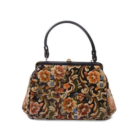 1960's Vintage Carpet Bag Earth Tone Colors Women's Handbag
