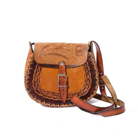 Vintage Tooled Leather Purse Brown Hippie Shoulder Bag