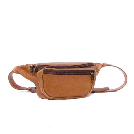 Brown 80s Fashion Fanny Pack Columbian Leather Sling Bag