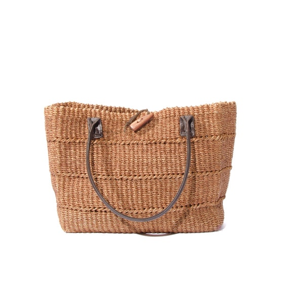 Vintage Woven Bag Sisal Tote Leather Trim Fall Colors