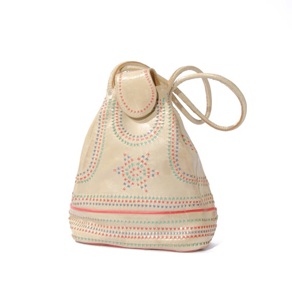 Vintage Off White Purse Woven Rainbow Leather