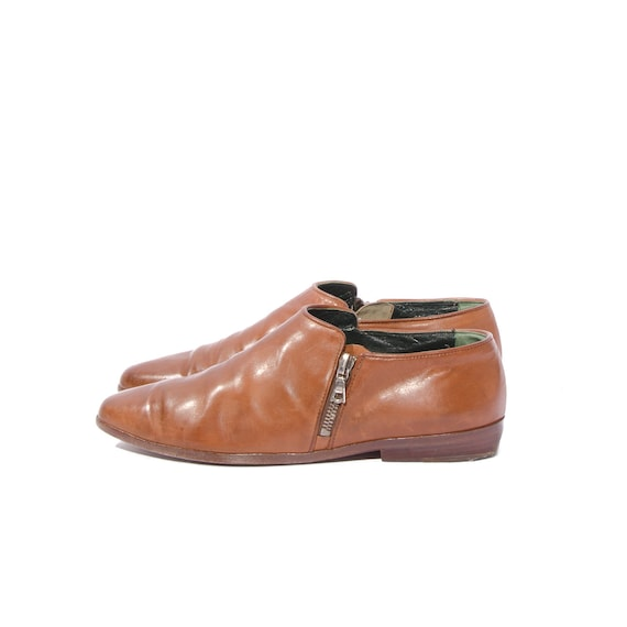 RESERVED for Rhonda /// Vintage Joan & David Pixie Ankle Boots Brown Leather Shoes size 8