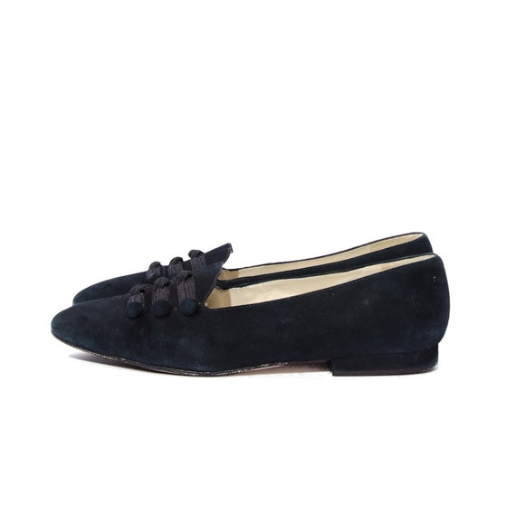Vintage Blue Suede Shoes by Pappagallo Navy Button Flats Women size 9 1/2 M