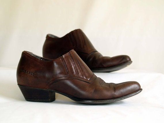 s ankle cowboy boots in brown leather western