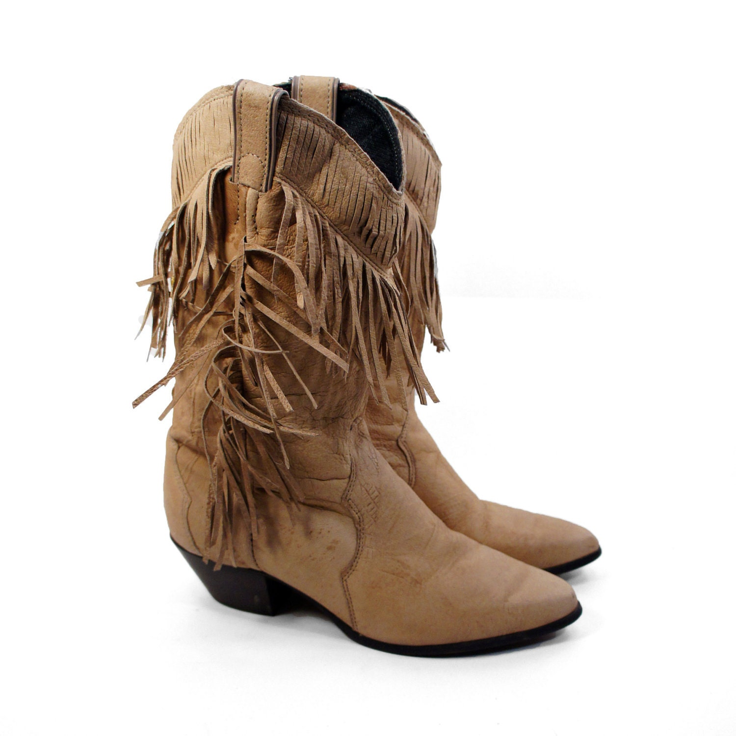 s fringe cowboy boots in tanned leather by by