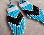 Turquoise, Black and White Seed Bead Beaded Earrings.