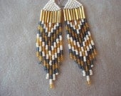 SALE: Ivory, Gold and Gray Chevron Seed Bead Earrings