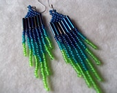 Blue, Teal and Green Seed Bead Earrings