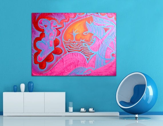 Holidays. Summer. Pink Blue Red. Pop Art. Graffiti. Love. Oil Canvas Painting SHEHERAZADE
