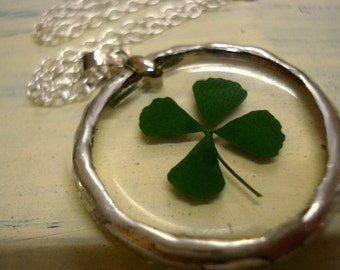 Soldered Real Four Leaf Clover, 925 Sterling Silver Chain