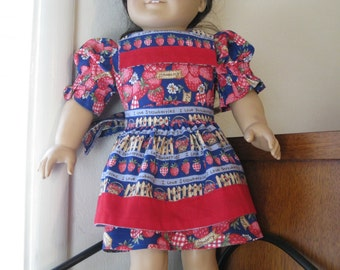 Strawberry Dress with Apron for 18 inch Dolls