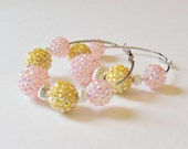 Forever Young Pink and Yellow Rhinestone Beaded Hoop Earrings
