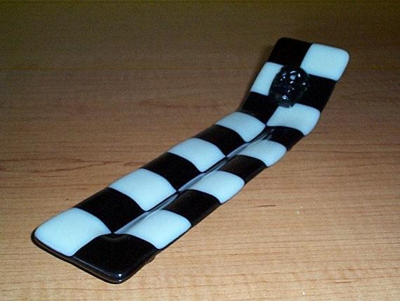 checkerboard fused glass inscence burner