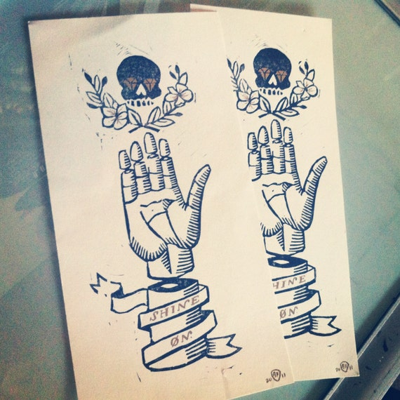 "Hand and Skull ""Shine On"" Limited Edition Linocut Print - Only 5 printed"