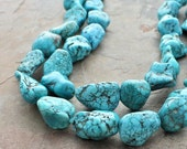 Turquoise Beaded Necklace: Blue Double Strand Chunky Handmade Jewelry in Sterling Silver