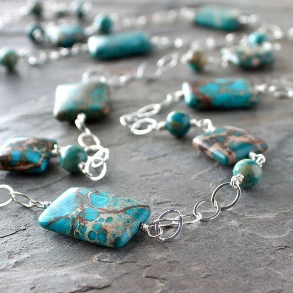 Long Turquoise Necklace: Blue, Brown, and Green Jasper Bead and Chain Layering Jewelry in Sterling Silver