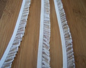 Ruffled Elastic (5/8'') in white for Lingerie, Garters, Altered Couture, Sewing - White 6 yards
