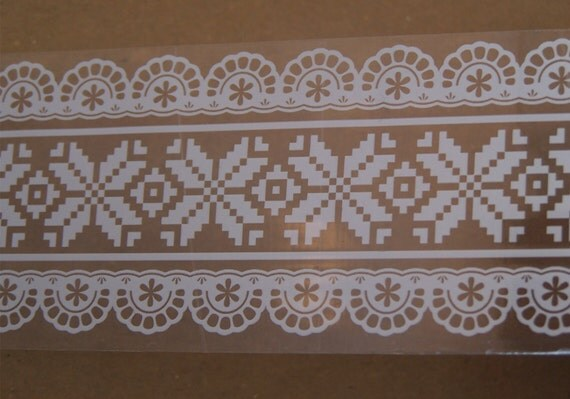 "Transparent White Lace Printed Tape for Gift Wrapping, Decoration, Scrapbooking- 2"" width"