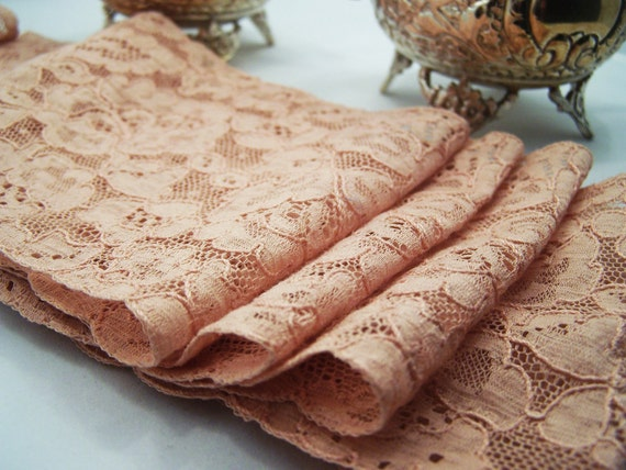 Vintage Wide Dusty Rose Flowery Net Lace (4 inch) for Bridal, Bridemaids Sashes, Belts, Wedding Attire  - 1 yard