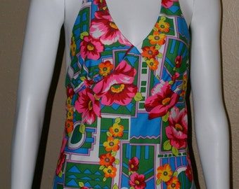 Vibrant and Colorful 70's Halter Dress