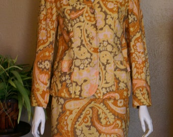 1960's Two Piece Sprotempos Pencil Skirt and Jacket  Size S/M
