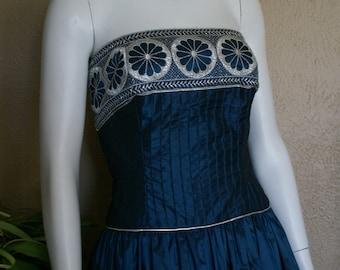 "Victor Costa-Bust 34"" Irridescent Midnight Blue Strapless Taffeta Tea Length Dress"