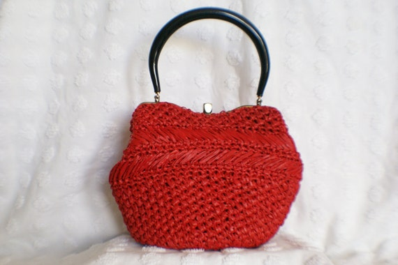 50's Candy Apple Red Woven Straw Handbag With Matching Coin Purse By MM
