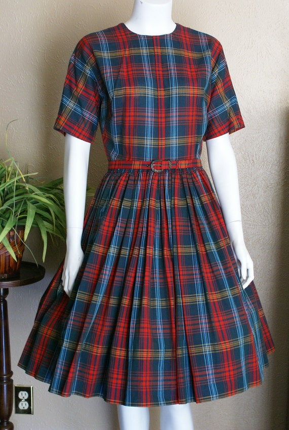 Vintage 1950's Plaid Day Dress With Full Skirt  Size Small/Medium