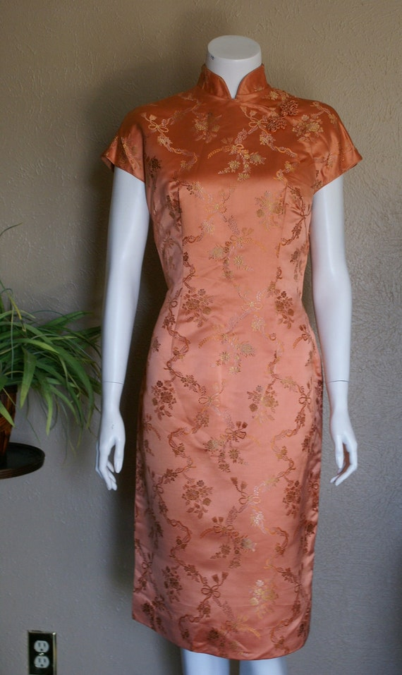 Vintage 1960's Dynasty Fully Lined Silk Dress  Size Large