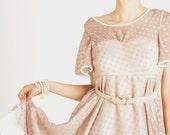 Polka Dot Baby doll style dress, silk chiffon, custom order