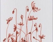 Original ACEO Poppy Field Drawing, Pigment Pen Drawing on Canvas Paper, OSWA, Postage Offer