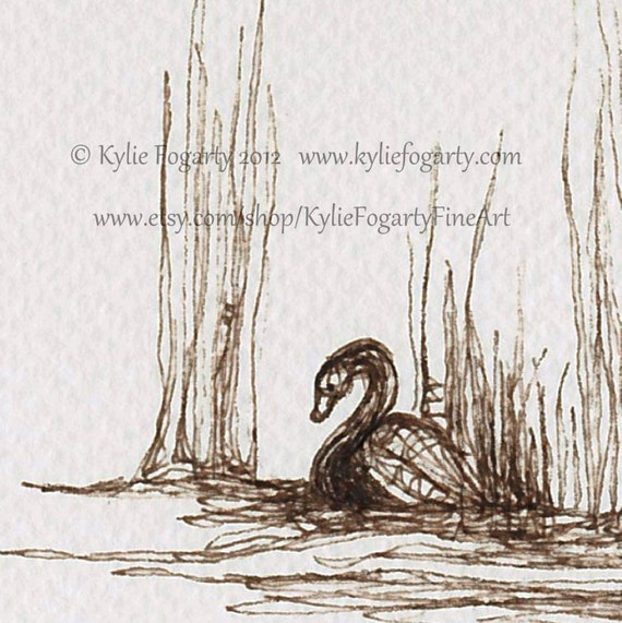 Brown / Sepia Toned Drawing of a Swan, Art, Original Line Drawing, Archival Sepia Ink - Christmas in July Sale