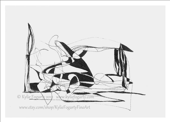 "Black and White, Abstract Line Drawing, ACEO, ""The Eskimo and the Penguin"", Original Art - CIJ - Christmas In July"