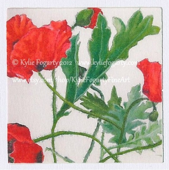 Greeting Card - Red Poppy, Flanders, Australian Botanical Flower, Square, Linen Greeting Card, Flanders Image 2