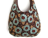 """Sling Purse flower hobo bag slouch shoulder market designer tote floral blue teal brown chocolate  """"Emma"""" MADE TO ORDER"""