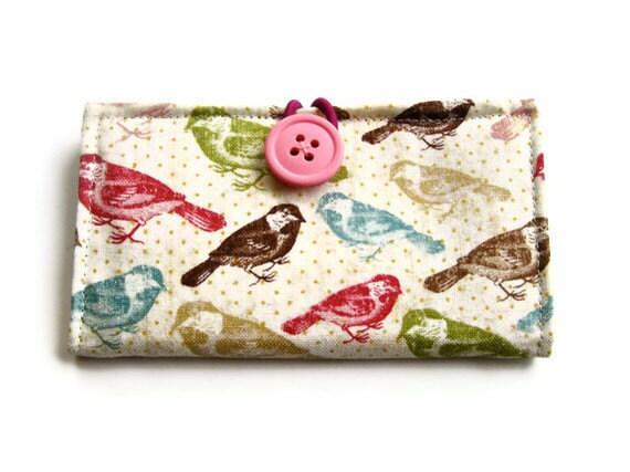 Custom Business Card, Credit Card Holder---Choose Your Fabric-- owl bird cassette polka dot flower eiffel tower