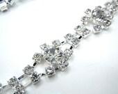 Bridal Belt Sash Crystal Rhinestone Trim Ribbon Sash