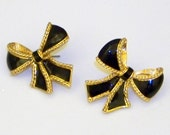 Reserved for Shamma - Vintage AVON Goldtone And Black Enamel Bow-Shaped Earrings from the KJL Collection