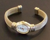 Vintage Goldtone Mesh Bangle Bracelet Watch with White Mother of Pearl Face by Alto