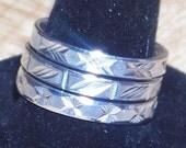 Vintage Stack Rings Sterling Silver Set of Three Diamond Cut