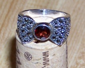 Vintage Sterling Silver Ring with Garnet and Marcasite in Bow Design January Birthstone