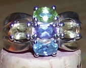 Vintage Sterling Silver Multi Gemstone Ring  Chunky Style Statement Ring