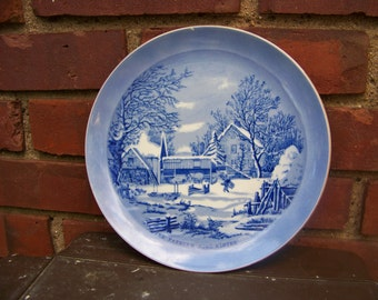 "Vintage 1970's Currier and Ives ""The Farmer's Home Winter"" Collector Plate"