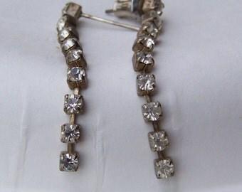 Vintage Silvertone Rhinestone Long Dangle Pierced Earrings