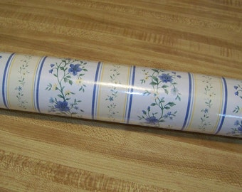 Vintage Imperial Wallpaper / Blues / Pale Yellows / White Striped Pattern / Victorian Chic / Country Chic / Country French
